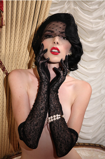 Black Lace Over Elbow Glove